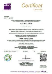 certification iatf 16949 décolletage, frappe à froid