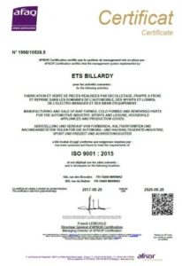 certification iso 9001 frappe à froid, décolletage