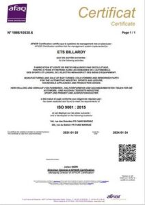 entreprise decolletage certification iso9001