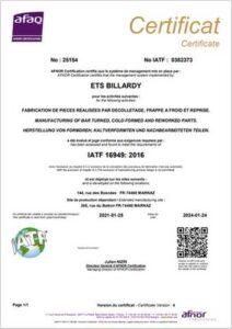 fabrication pièce décolletaga certification IATF